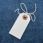 White tag (strung) 70x35mm